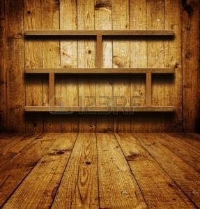 16772058-Старинные-деревянные-книжные-полки-над-шероховатый-фо